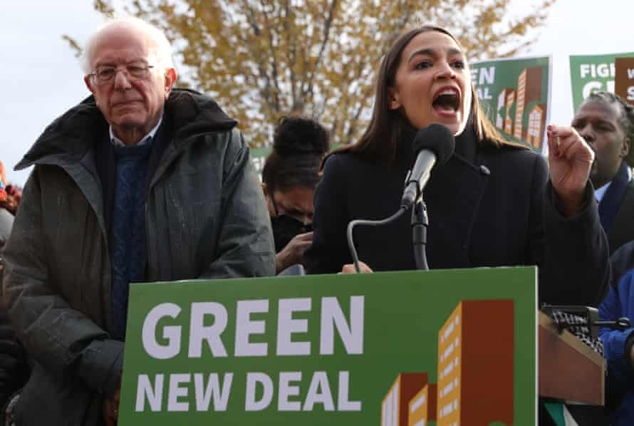 Bernie Sanders and Alexandria Ocasio-Cortez hold a news conference to introduce Green New Deal legislation in Washington DC.