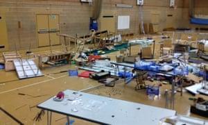 The scene of devastation at Welland academy in Stamford.