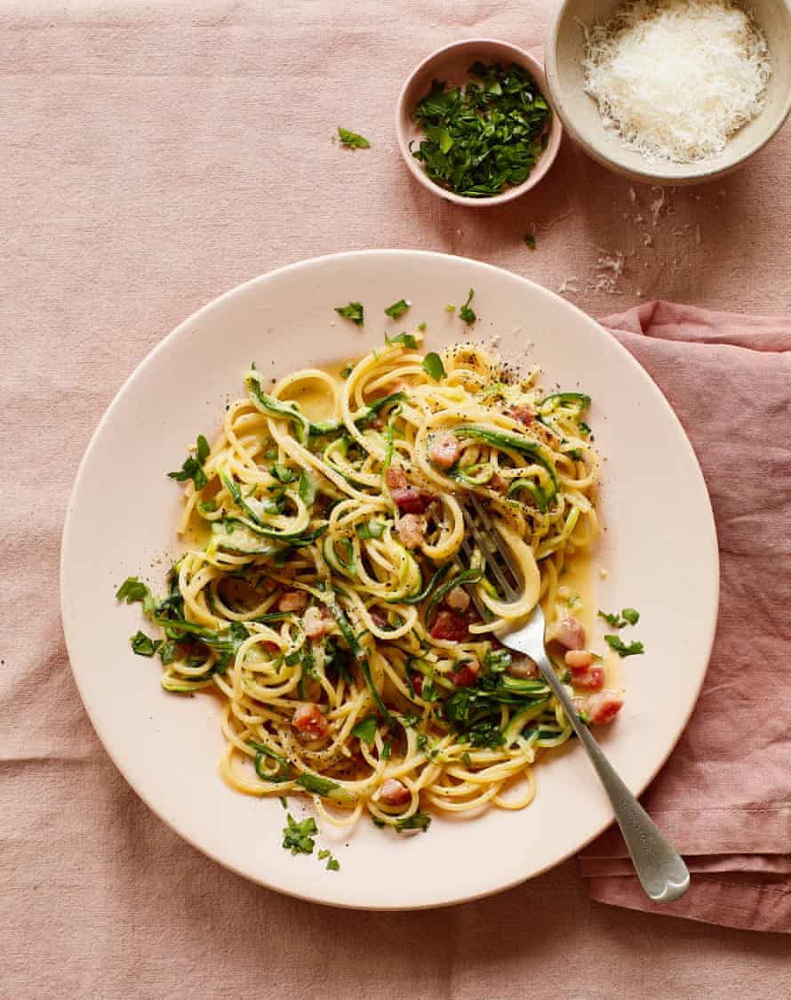 Thomasina Miers' courgetti carbonara with pancetta.
