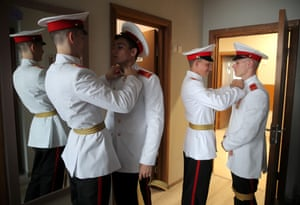 Students of the Kazan Suvorov military school prepare for their graduation ceremony in Kazan, Russia
