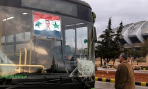 A bus that had been intended to evacuate people from rebel-held eastern Aleppo