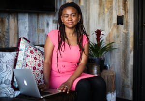 Jamia Wilson, an feminist activist and storyteller sits for a portrait in a co-working space in Berkeley, California