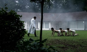 A still from the film The Human Centipede