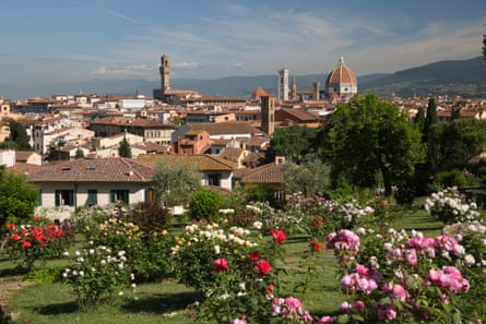 View over Florence from the Rose Garden below Piazza Michelangelo