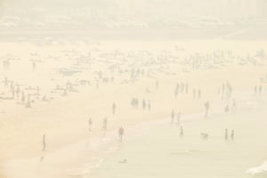 Bushfire haze covers Bondi Beach as the air quality index reached higher than ten times the hazardous level in some suburbs of Sydney.