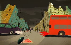 Illustration by Lehel Kovacs of a giant cockroach crossing Whitehall.