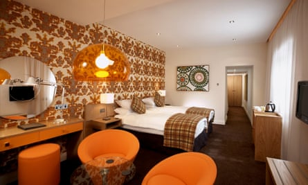70s- style bedroom at The Townhouse, Anglesey