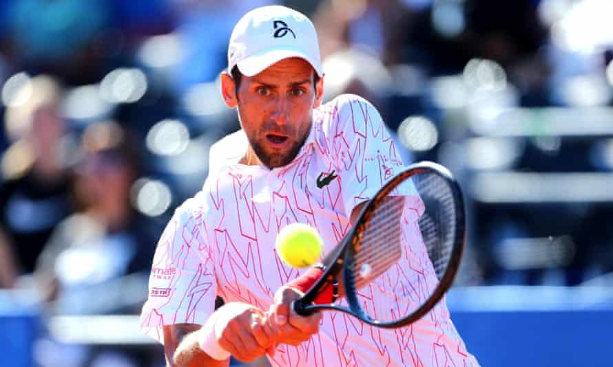 Novak Djokovic in action against Pedja Krstin during the Adria Tour at the weekend.
