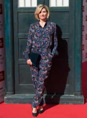 Jodie Whittaker outside the Tardis for the Doctor Who premiere in Sheffield.