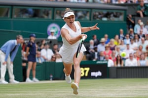 Halep stretches to make another return.