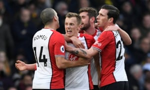 James Ward-Prowse celebrates after opening the scoring for Southampton.