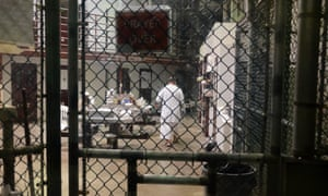 GTMO Guantanamo Bay camp and prison February 2016 Detainee in Camp Six - food is on the table