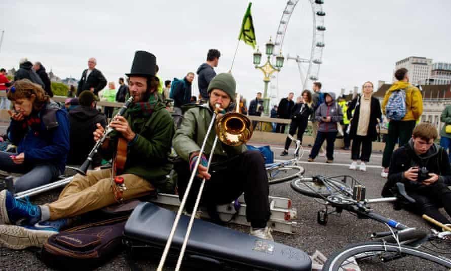 Extinction Rebellion protesters on Westminster Bridge, London, in 2019