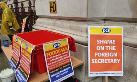 A food collection box outside the Foreign Office.