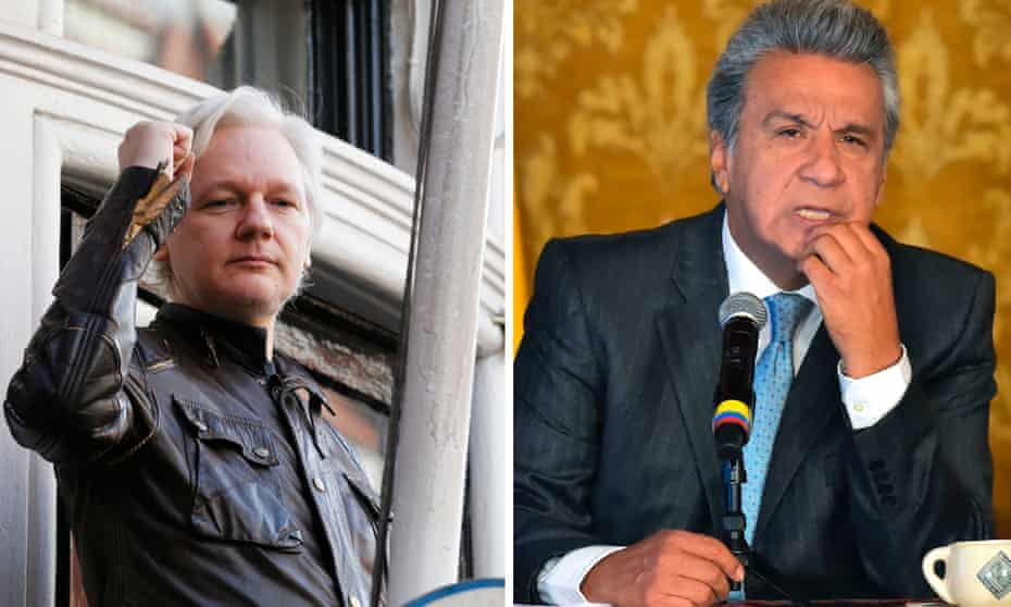 Match made in hell: Juian Assange (left) and Lenín Moreno.