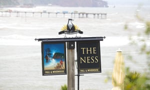 Pub sign for the Ness with a badger on top.