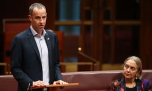 New Tasmanian Greens senator Nick McKim makes his first speech in the senate chamber of Parliament House Canberra this afternoon, Wednesday 9th September 2015.
