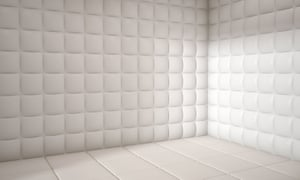 white mental hospital padded room empty with copy spaceC3X9BR white mental hospital padded room empty with copy space