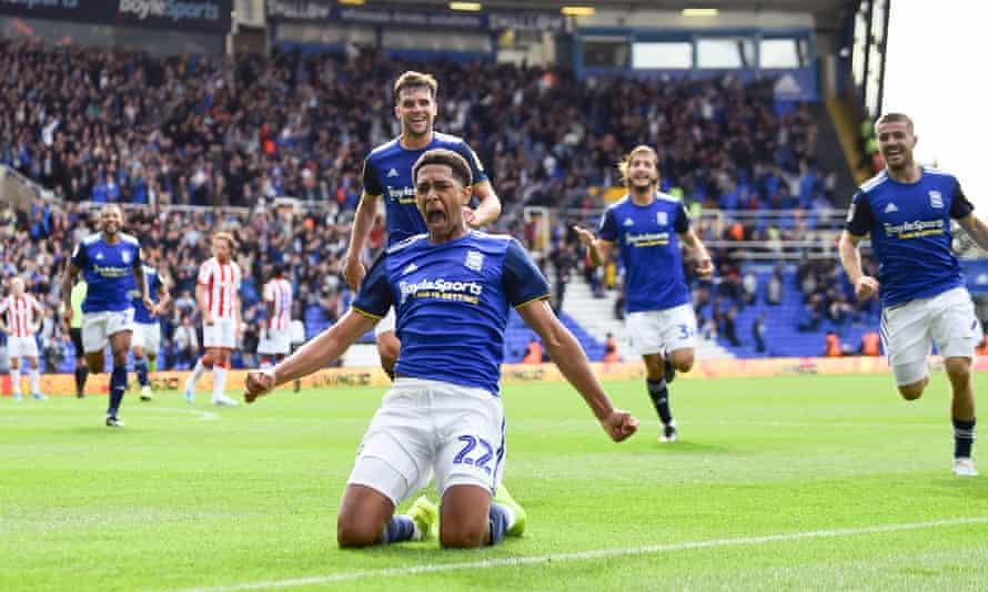 Jude Bellingham celebrates after scoring for Birmingham City against Stoke City.