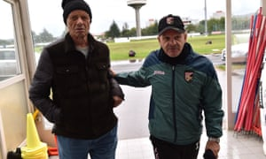 Palermo president Maurizio Zamparini, left, with Giuseppe Iachini, the manager he hired twice in 2015-16, despite describing him as 'an idiot who has gone mad'.