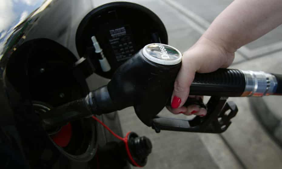 A car being filled up with diesel