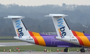 Flybe aircraft are pictured on the tarmac at Exeter airport