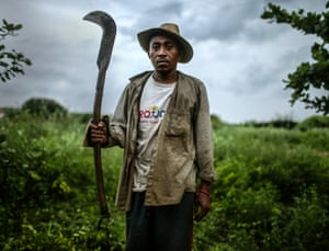 Former slave Francisco Rodrigues dos Santos on the piece of land where he lives and farms in Monsenhor Gil, Piauí state, Brazil