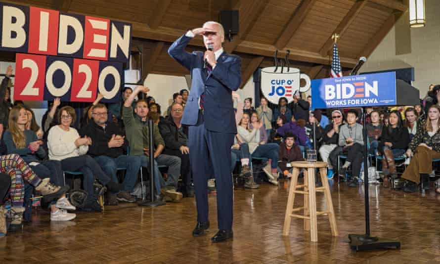 Former vice-president Joe Biden speaks during a campaign event at Simpson College in Iowa on Saturday.