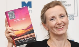 Anna Burns at the Man Booker prize ceremony with her winning novel The Milkman.
