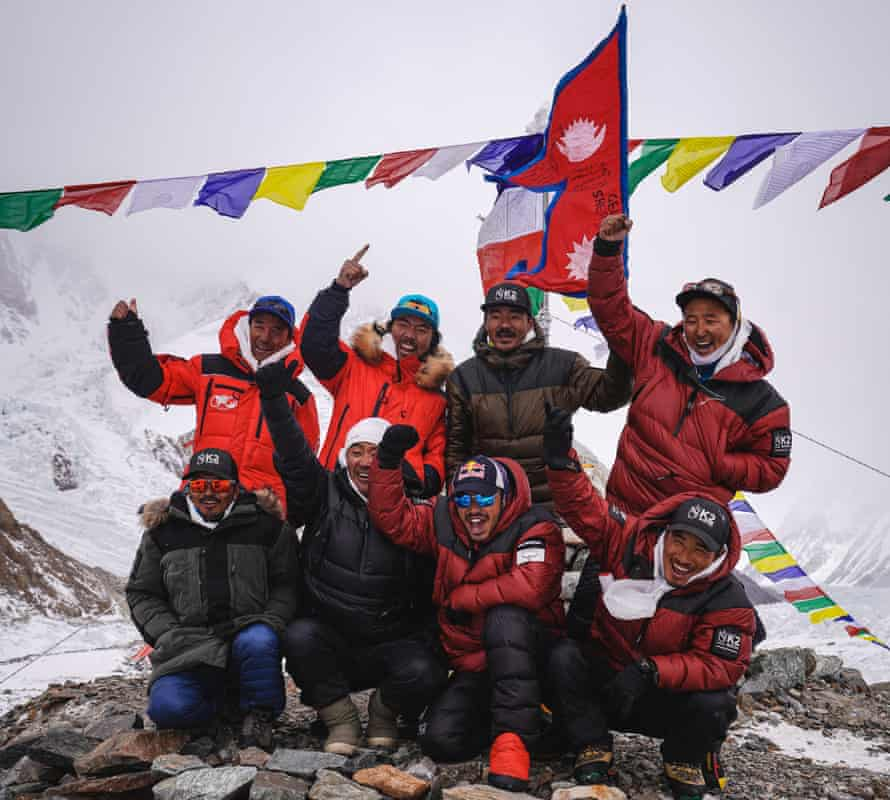 The team at the summit on K2