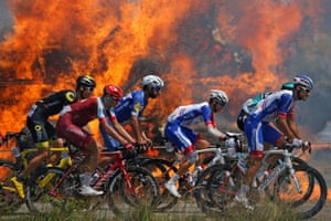 As if the riders were not hot enough already, they also had to content with the extra heat from a haystack that caught fire