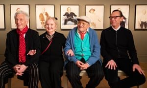 From left to right: Maurice Payne, Celia Birtwell, David Hockney and Gregory Evans at the National Portrait Gallery.