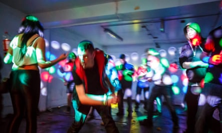 People at a free party in a warehouse in east London