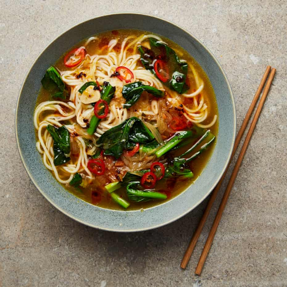 Sticky onions combined with miso, stock and sake: Meera Sodha's caramelised onion ramen.