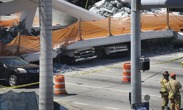 Florida bridge collapse: four dead after new walkway falls