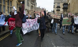 Students protest against the statue of British colonialist Cecil Rhodes at Oxford University in May.