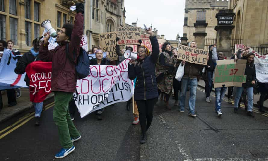Protest against the Cecil Rhodes statue at Oriel College, Oxford, in March 2016