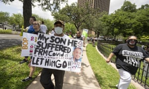 A coalition of Texas inmates rights groups rallies in May at the Texas governor's mansion protesting against hazardous prison conditions regarding Covid-19.