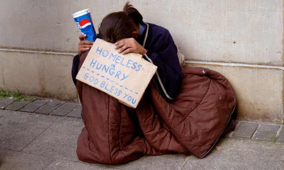 Young homeless person in London