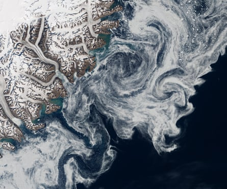 Arctic sea ice in the Denmark Strait on the east coast of Greenland