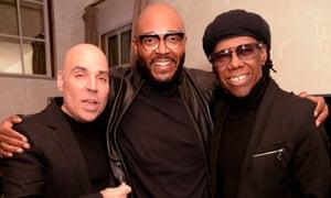 Merck Mercuriadis (left) with Radio 1 DJ MistaJam and Chic star Nile Rodgers at the Brit awards.