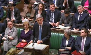 Britain's chancellor, Philip Hammond, delivers his spring budget statement in the Commons.
