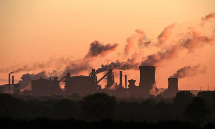 Vapour rises from British Steel's Scunthorpe plant