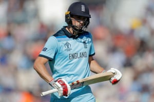 England's Chris Woakes looks dejected after getting out.