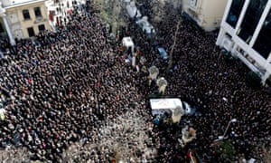 Istanbul, Turkey Thousands of people attending the funeral ceremony of Turkish writer Yasar Kemal who died at the age of 92