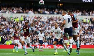 Tottenham's Harry Kane heads over.