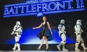 Janina Gavankar on stage at EA's event.