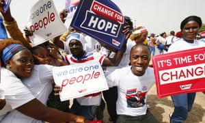 George Weah supporters at the election rally at the Samuel Kanyon Doe Sports Complex in Monrovia, Liberia