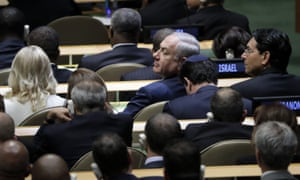 Israeli prime minister Benjamin Netanyahu (center) was one of the few to applaud the US president's stance on the Iran nuclear deal.