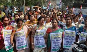 A protest in Kolkata in 2017 over Aadhaar